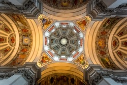 Beautiful painted ceiling of dome at Salzburg cathedral