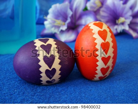 Beautiful painted easter eggs on a colorful background