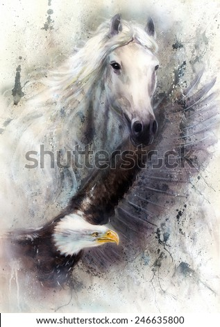 beautiful painting of a white horse with a flying eagle, on an abstract textured background profile portrait eye contact,  illustration