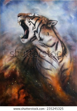 Beautiful painting of a wild roaring tiger emerging from a mystical foggy background profile portrait