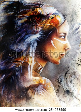 beautiful painting of native american indian woman with eagle, on an abstract textured background