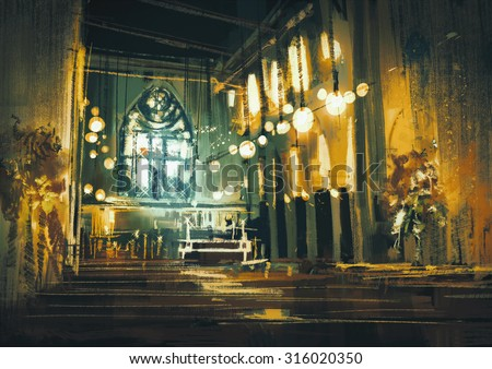 beautiful painting showing interior view of a church and dramatic light