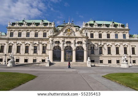 beautiful palace Belvedere in Vienna on a sunny day