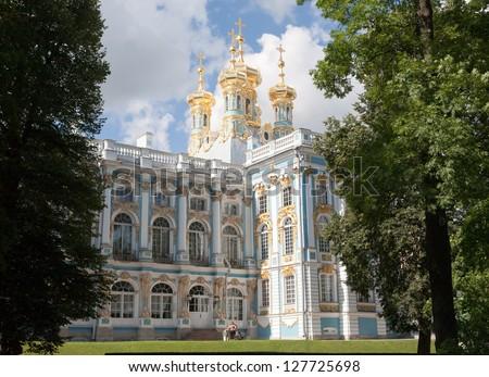 Beautiful palace built for Catherine the Great at Pushkin Saint Petersburg, Russia #127725698