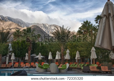 Beautiful Palm Springs resort with the mountains in the background
