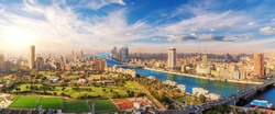 Beautiful panorama of Cairo and the Nile from above, Egypt