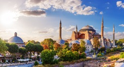 Beautiful panorama of Hagia Sophia, Istanbul, Turkey
