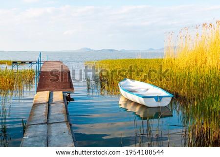 Beautiful panorama of Lake Balaton near the town of Fonyod, in the background the Badacsony Mountains and Szigliget, Hungary Stock photo ©