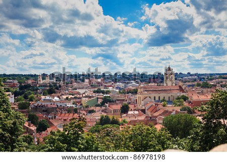beautiful panorama of Old town in Vilnius - capital of Lithuania, from the Tower of Gediminas