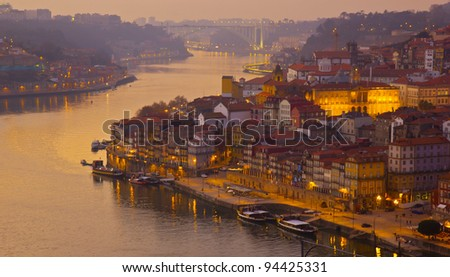 beautiful panorama of Ribeira and Douro river Porto at sunset, Portugal
