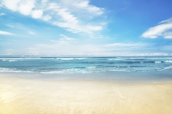 Beautiful panorama of seascape with blue sky at daylight