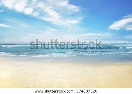 Beautiful panorama of seascape with blue sky at daylight #594807320