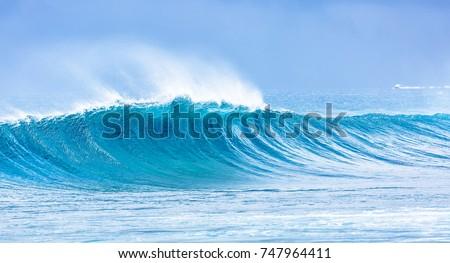 Beautiful panorama of splashing blue wave curl. #747964411