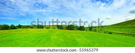 Beautiful panorama of summer landscape in Scotland