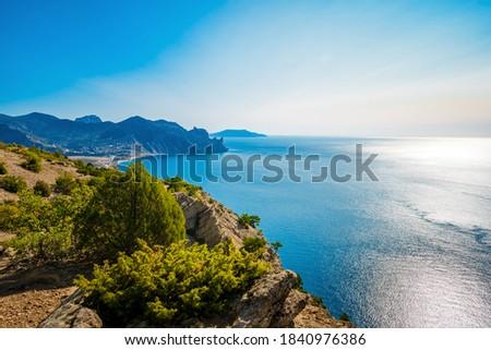 Beautiful panorama of the coastal landscape in the Crimea. Black Sea Stock foto ©