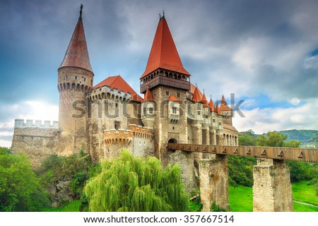 Beautiful panorama of the Corvin castle with wooden bridge,Hunedoara,Transylvania,Romania,Europe stock photo