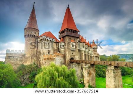 Beautiful panorama of the Corvin castle with wooden bridge,Hunedoara,Transylvania,Romania,Europe stock photo