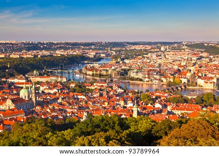 Beautiful panorama of the Czech capital city Prague shortly before sunset