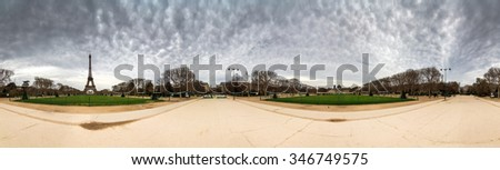 Beautiful 360 panorama of the Eiffel tower on a cloudy winter day in Paris  #346749575