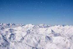 Beautiful panorama of the European Alps in a sunny day of Februari. The mountain is 3100m and is one of the highest in the whole mountainchain.