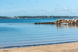 Beautiful panorama of the Goret beach in Ile-aux-Moines, Morbihan gulf off season