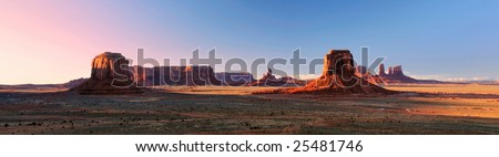beautiful panorama of the monument valley navajo tribal park from artist point at dusk