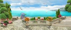 Beautiful panorama overlooking the sea. Beautiful view. Digital fresco