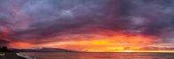 beautiful panorama sea landscape with a sunset. evening colorful sky with clouds over ocean. sky with clouds panoramic view