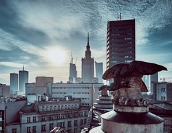 Beautiful panoramic aerial drone skyline view of the Warsaw City Centre with skyscrapers of the Warsaw City and