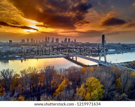 Beautiful panoramic aerial dsron view to Swietokrzyski Bridge (Polish: most Swietokrzyski, English: Holy Cross Bridge) - is a bridge over the Vistula river in Warsaw, Poland, from dron DJI Mavic Air #1219971634