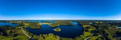 Beautiful panoramic aerial view of the lake  Plateliai in Lithuania