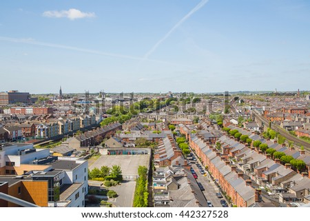 Beautiful panoramic aerial view of UK, Great Britain. Old classical building in the UK #442327528