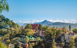 Beautiful panoramic cityscape of Shimla, the state capital of Himachal Pradesh located amidst Himalayas of India.