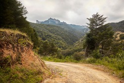 Beautiful panoramic landscape of a rural road in the mountains and woods near Mineral del Chico in Hidalgo Mexico.