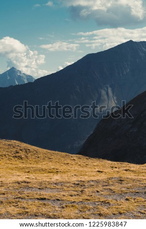 Beautiful panoramic nature in the mountains, the miracle of nature. Autumn mood at sunset in Switzerland mountains Pizol, Europe #1225983847