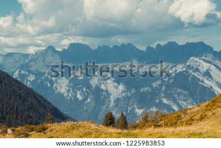Beautiful panoramic nature in the mountains, the miracle of nature. Autumn mood at sunset in Switzerland mountains Pizol, Europe #1225983853