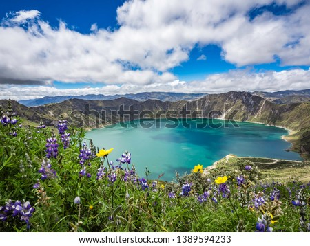 Beautiful panoramic scenery overlooking at Quilotoa lake at the crater rim in Quilotoa, Ecuador #1389594233