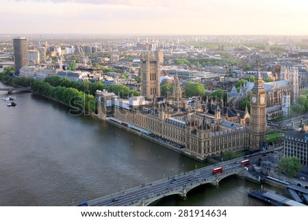 Beautiful panoramic scenic view on London's southern part from window of London Eye tourist attraction wheel cabin cityscape Westminster Abbey Big Ben Houses of Parliament and Thames river