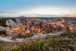 Beautiful panoramic view Goreme, Cappadocia, Turkey at night. Famous center of balloon fligths.