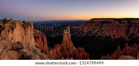 Beautiful Panoramic View of an American landscape during a sunny sunset. Taken in Bryce Canyon National Park, Utah, United States of America. #1314799499
