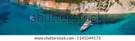 Beautiful panoramic view of Anchoring yacht in bay, Kefalonia, Greece.