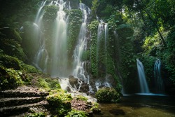 Beautiful panoramic view of Banyu Wana Amertha Waterfall Wanagiri,  Vacation on the island of Bali, Indonesia.