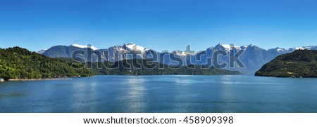 Beautiful panoramic view of Chilean fjords: Aysen fjord and Puerto Chacabuco surrounding area, Patagonia, Chile, South America. #458909398