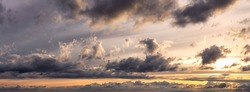 Beautiful Panoramic View of Cloudscape during a colorful sunset or sunrise. Taken on the West Coast of British Columbia, Canada.