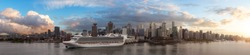 Beautiful Panoramic View of Downtown City, Canada Place and Coal Harbour. Dramatic Sunset Composite. Vancouver, British Columbia, Canada
