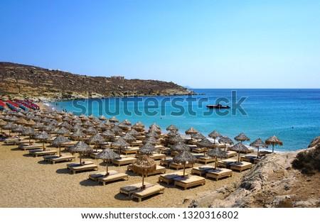 Beautiful panoramic view of Lia beach bay in Mykonos, Greece Foto stock ©