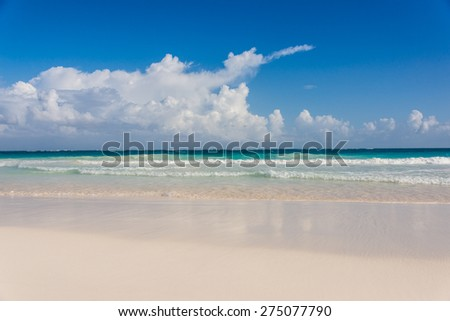Beautiful Panoramic View of ocean at caribbean destination, traveling Mexico. Central America. #275077790