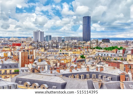 Beautiful panoramic view of Paris from the roof of the Pantheon. View of the Montparnasse tower. #515114395