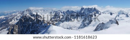 Beautiful panoramic view of snow mountains on the top of Chamonix #1181618623