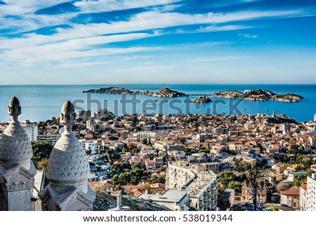 beautiful panoramic view of the city of Marseille, France #538019344